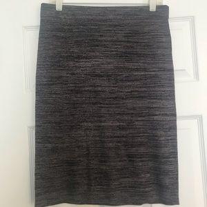 Knee-length gray skirt from Loft